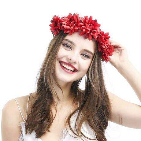 Wianuszek kwiatowy opaska korona kwiaty róża wieniec ślubny weselny