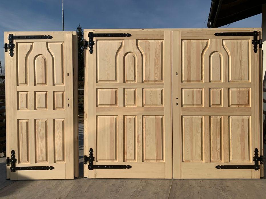 Drzwi garażowe brama zewnątrzne 100% drewniane OD RĘKI Grzybno - image 1