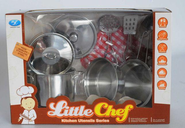 Zabawka - Garnki metalowe zestaw kuchenny akcesoria