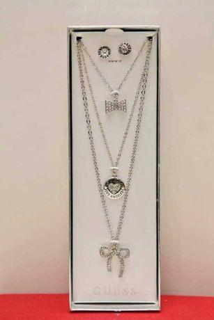 Orginalna biżuteria łańcuszek naszyjnik + kolczyki Guess w pudełku.