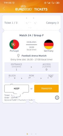 Ingressos da copa da Europa, Portugal VS Germany