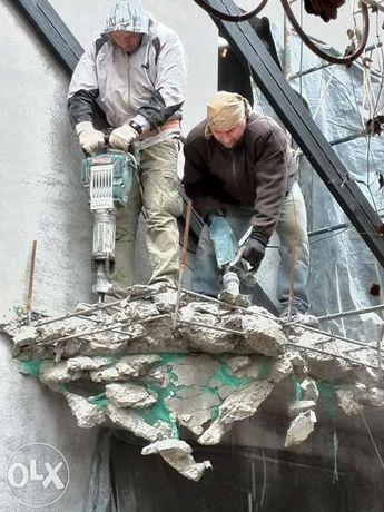 Любые демонтаж-ные работы алмазное сверление отверстий резка в бетоне