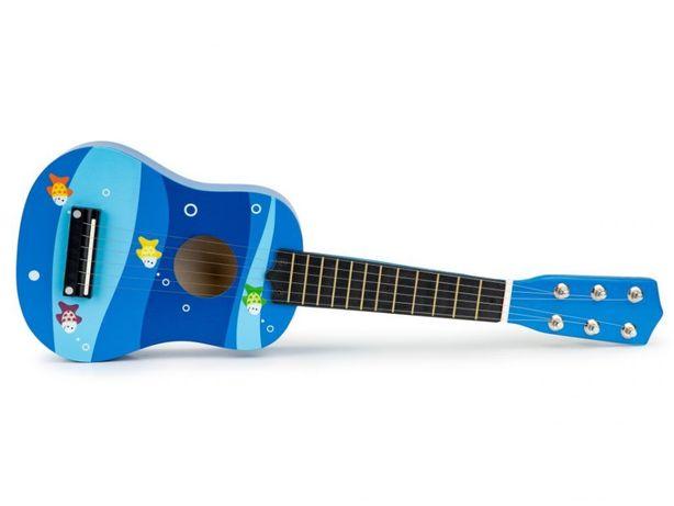 Gitara dla dzieci drewniana metalowe struny kostka- niebieska