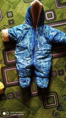 Зимний комбинезон на мальчика 0-8м