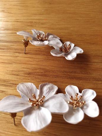 Kolczyki białe kwiaty