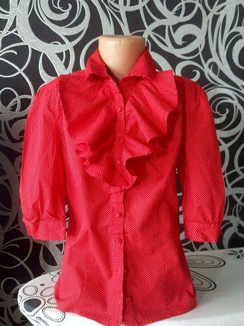 Блузка школьная,рубашка в горошек 11-13л