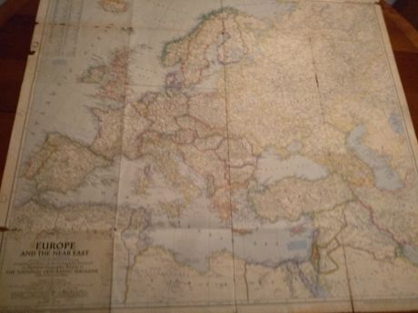 Mapa Europe and the Near East- National Geografic Copyright 1949