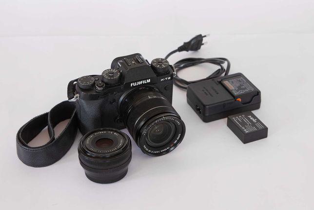 Fujifilm XT2 com lente 18-55mm f/2.8 e opção da lente 18mm f/2