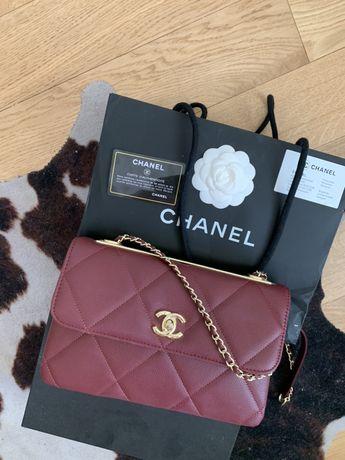 Chanel Flap bag burgundowa chanelka torebka