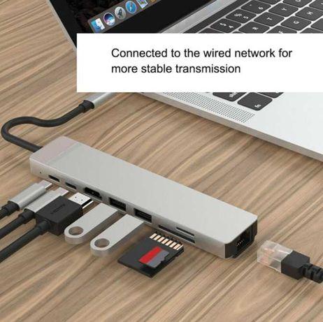 Cabo daptador de USB-C para HDMI, RJ45, USB-C, USB e outros