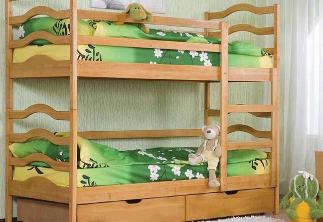 Новая двухярусная детская деревяная кровать София Венгер с ящиками