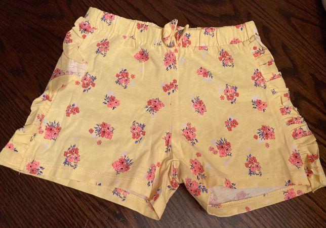 H&m, bawełniane żółte szorty w kwiatuszki, rozm 110-116, 5-6 lat