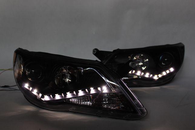Lampy przednie przód VW TIGUAN 07-11 H7 DZIENNE DRL LED Black Tuning !