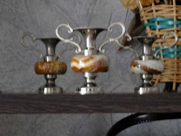 Антиквариат подсвечники 3 штуки натуральный янтарь
