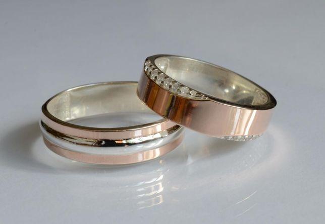 Обручальные Кольца .Серебро с золотыми пластинами.Пара