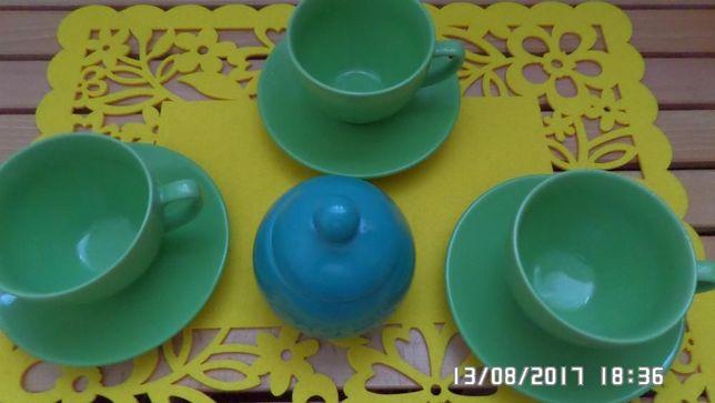 Filiżanki porcelit - 6 sztuk + cukierniczka gratis
