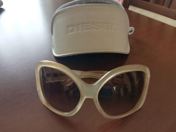 DIESEL okulary przeciwsłoneczne oprawki brokatowe złoto plus etui