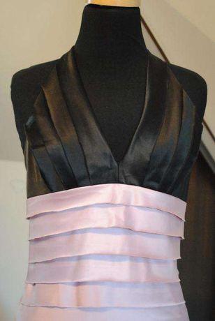 sukienka mini rozowo-czarna / wesele / studniowka / sylwester