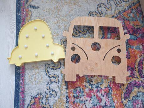 Dekoracje lampki auta drewniane i żółte