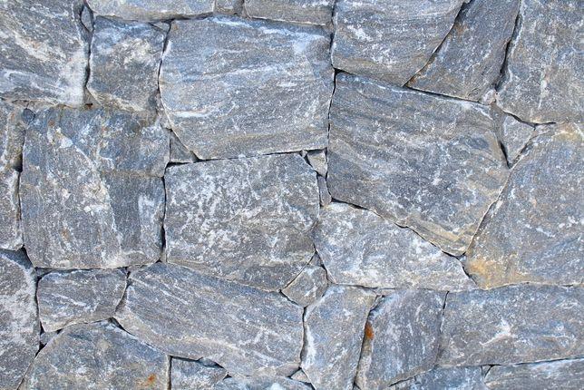 Kamień elewacyjny grafitowy - surowa skała lico łupane bok cięty