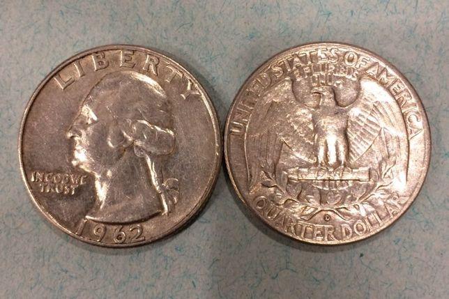 Серебрянная монета 25 центов США 1962 Джорж Вашингтон