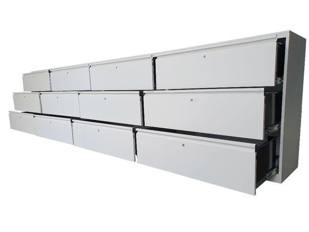 Szuflady 400x100x45 cm 12 szt 320 kg stół warsztatowy zabudowa