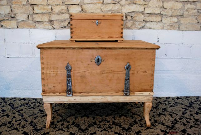 Skrzynia posagowa + kuferek drewniany zestaw antyk do odmalowania