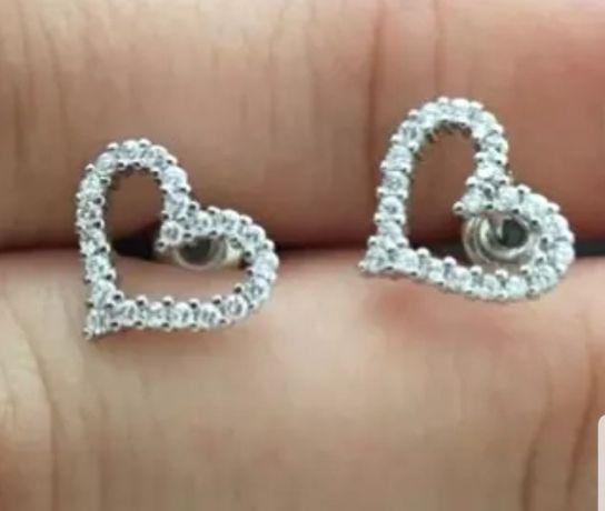Kolczyki srebrne 925 serca