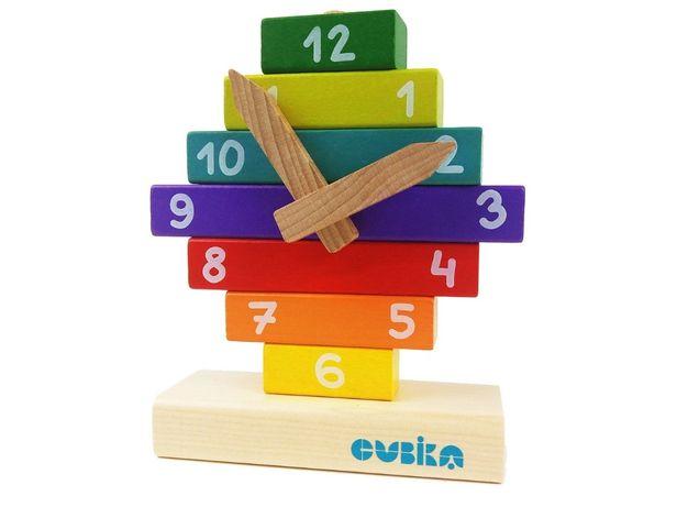 Деревянный конструктор пирамидка Cubika Часы 14354