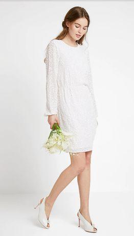 suknia ślubna, krótka biała sukienka, odkryte plecy, koraliki, S, 36,