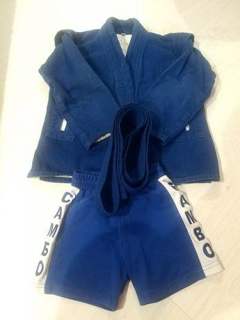 Самобка, шорты, пояс, кимоно для самбо рост 120-130 см