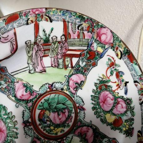 Prato antigo + conj. 6 taças porcelana chinesa
