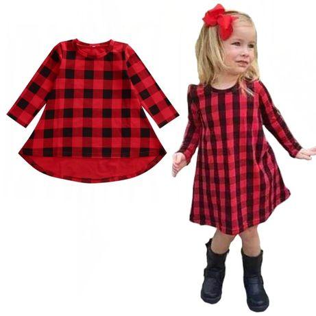 Sukienka czerwona czarna krata święta długi rękaw 80 86cm 92 98cm 104