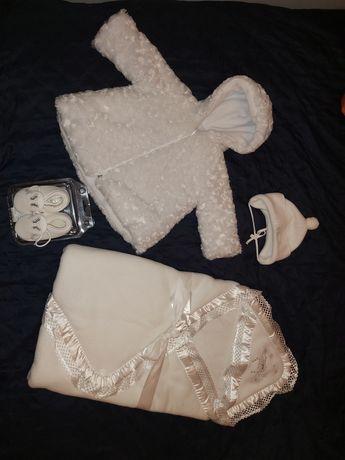 Ubranko na Chrzest zestaw ubranek zimowych dla dziewczynki na chrzciny