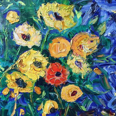Продаётся картина маслом Полевые цветы