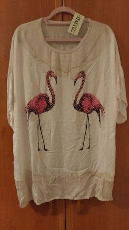 Nowa włoska bluzka z flamingami xxl 48