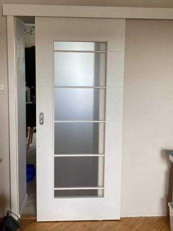 Drzwi przesuwne, białe 203 x 84,5 cm