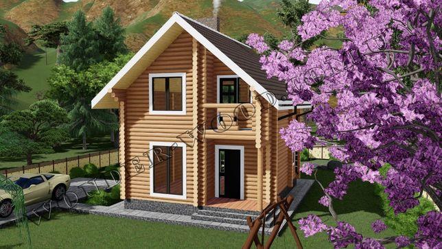 Деревянный дом, дача 90м 20900$, сруб WonderWood эко брус, заказ Киев
