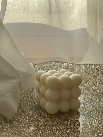 Świeczka sojowa handmade cube aesthetic