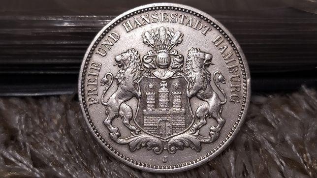 Срібна монета Німецька Імперія 3 Марки 1910 Гамбург