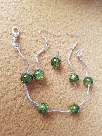 Komplet biżuterii - bransoletka, kolczyki, wisiorek - nowy zestaw