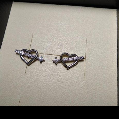 Серебряные серёжки гвоздики сердечки
