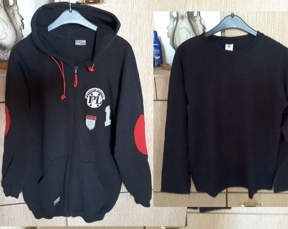Czarna bluza z kapturem chłopięca 140 cm / dług.bluzy 63 cm /+ bluzka