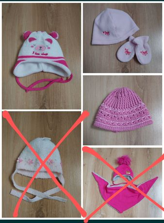 Czapka czapeczki czapki dla niemowlaka 0-3m dziewczynki r. 56-62