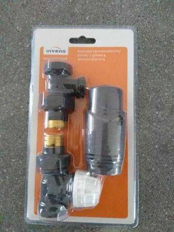 Komplet termostatyczny, zawór, głowica, prosty, grafit struk nowy !