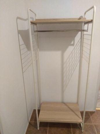 Wieszak szafa garderoba metalowa z półkami statyw na ubrania