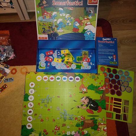 Gra,gry planszowe smerfy trefl,Memo,pingwiny,piraci z Nibylandi,cyferk