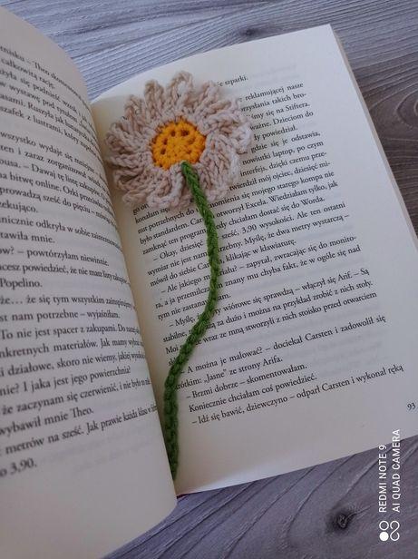Zakładka do książki na szydełku kwiat kwiatek vintage