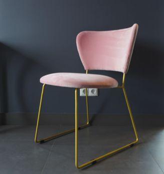 стул розовый на золотых ножках