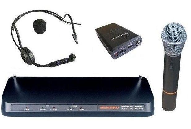 Profesjonalne mikrofony bezprzewodowe Sekaku WR-202R- nagłowny, do ręk